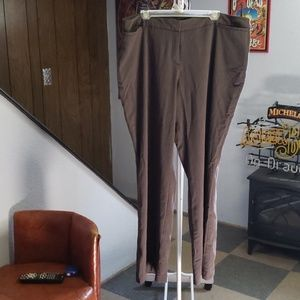 Brown pinstripe trouser pants.